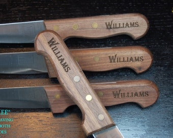Steak Knife Set of 4, Personalized Steak Knives, Wood Handle Flatware, Chicago cutlery, Personalized Wedding Gifts, Christmas Gift Knife