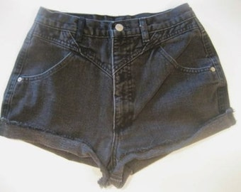 Vintage 1980's Western Roper Jeans Cut Off Shorts high waist black denim cowgirl sz  5 7 (9)