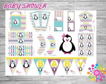 Penguin!!!Printable Party Set!!!Baby Shower!!Digital!!DIY!
