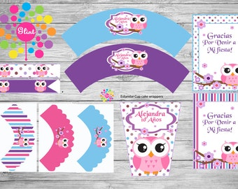 New!!! Printable Party Set!!! Owl!! Customized!!!