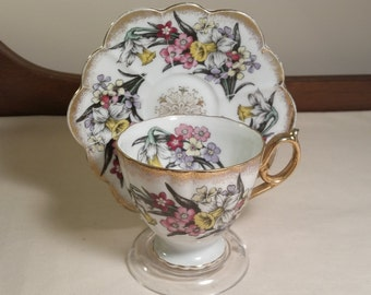 Vintage Shafford Hand Painted Jonquil and Mixed Flowers Glory Teacup ~ Japan