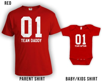 Team Daddy and Team Captain - Matching Fathers Day Shirt, Kids T-shirts & Baby Bodysuits, Gifts for Him, Gifts for Dad 15Colors CT-433-434