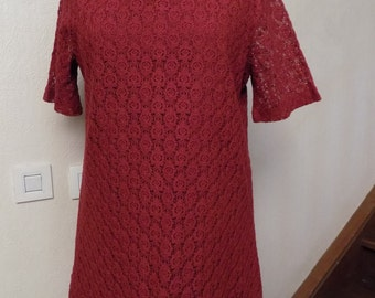 Long tee shirt tunic in lace Red