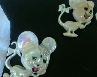 Two Vintage Small White Mice Pins