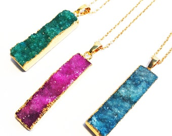 Druzy Bar Pendant Necklace, Druzy Necklace, Bar Necklace, Fashion Jewellery, Gold Druzy Necklace, Best Friend Gift For Her