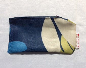 Pouch for makeup, pencil case, glasses case, toiletries, accessoiries, baby and/or all-purpose with zipper, Fabric  Feuillus Blue