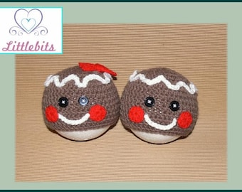 Littlebits Newborn Baby Crocheted Christmas Gingerbread Boy n Girl Beanie Set -  Handcrafted & Sold in Australia