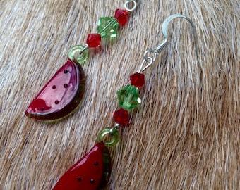 Glass Watermelon & Swarovski Crystal Earrings