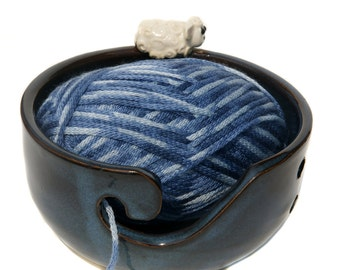 20% DONATION TO Indraloka Animal Sanctuary Made To Order Hand Thrown Pottery Sheep/Lamb Yarn Bowl Knitting Bowl Rescue gift Farm Animal gift