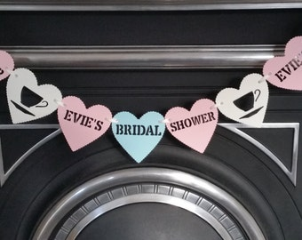 Personalised bridal shower bunting banner garland. Pastel pink,pastel turquoise & ivory hen party, bridal party, tea party bunting