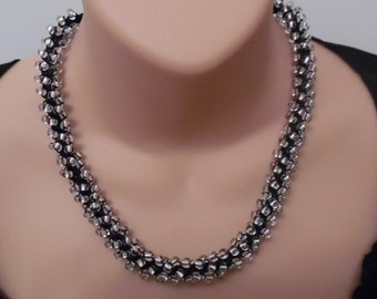 Silver and Black Beaded Kumihimo Braided Necklace