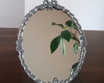 Vintage pewter silver tone dresser mirror vanity mirror hand mirror celtic gothic art deco style