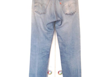 True vintage 1970s Levis 505 31x31 slim fit high rise Orange Tab japan denim jeans