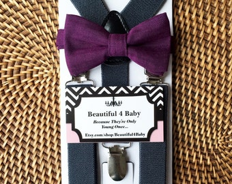 Purple Baby Bow Tie, Purple Toddler Bow Tie, Grey Toddler Suspenders, Gray Toddler Suspenders and Purple Bowtie Set, 6 Mo to 5 Years Old
