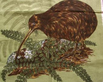 Vintage Tea Towel Dish Towel NEW ZEALAND KIWI Pure Linen