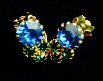 1950's Blue and Green Sparkling Rhinestone Petite Clip Back Earrings