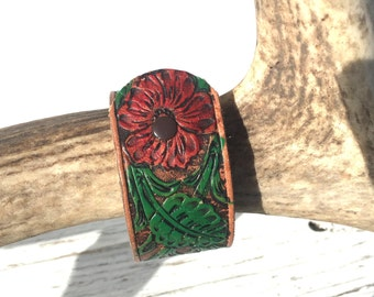 VALENTINES for HER, Leather Flower Bracelet, Leather Cuff, Leather Cuff Bracelet, Upcycled Cuff,  Upcycled Jewelry, PAINTED Flower Cuff,