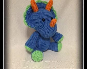 Crocheted Triceratops dinosaur