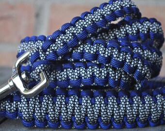 Deep Dark Blue with Black & White Paracord 6ft Dog Leash