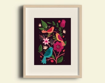 Summer Birds Folk Print