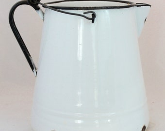 Large Milky White Enamel Pitcher with Wooden Handle on Top