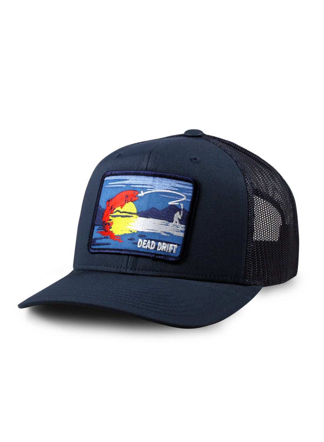 Fly fishing hat colorado flag snap back mesh trucker navy by for Fishing trucker hats
