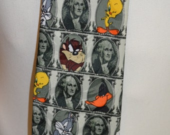 Vintage Looney Tunes Mania Bugs Bunny & Friends Money Full Length Necktie