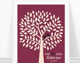 Personalized Wedding Print, Family Tree Print, Lovebirds, Gift for Wedding, Newlywed Gift, Wedding Art Print, Bird Silhouettes