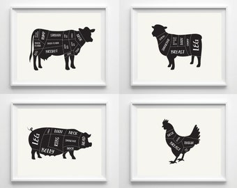 Butcher Diagram Prints - Kitchen Art Print Poster - Cow Pig Lamb Chicken - Cuts of Meat - Butcher Cuts Poster Prints - Black and Neutral