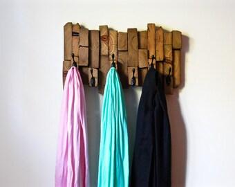 Reclaimed Wood Coat Rack, Reclaimed Wood Wall Art, Bathroom Towel Rack