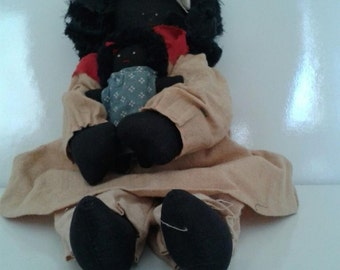 Vintage Black Americana, Momma with Child Doll