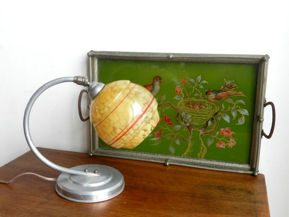 Lampe de chevet art d co en aluminium et globe en by for Globe lampe de chevet