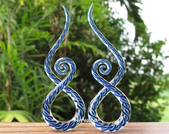"Aqua & Cobalt Blue Twist Encased Glass Note Shapes 10g 8g 6g 4g 2g 0g 00g 7/16"" 1/2"" 9/16"" 5/8"" 2.5 mm 3 mm 4 mm 5 mm 6 mm 8 mm 10 - 16 mm"