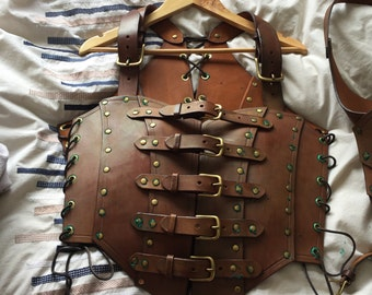 Leather corset armour and pauldren