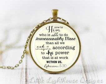 Large Immeasurably More Pendant Scripture Pendant Christian Pendant Christian Necklace Inspirational Gift