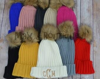 Monogrammed Knit Pom Pom Hat - Personalized Winter Hat - Embroidered Beanie - Skull Cap - Toboggan