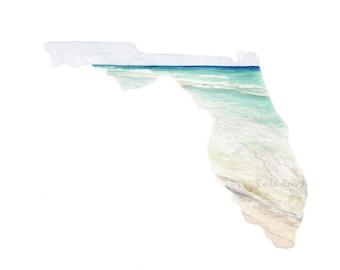Florida State Art Print, Florida Map Print, Florida PRINT, Florida State Map, Watercolor Landscape, Custom State Art, Pensacola, Gulf Coast