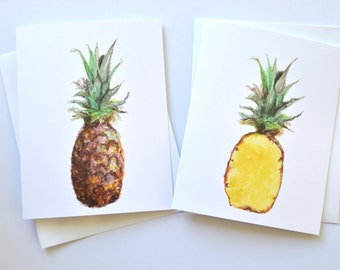 Pineapple Watercolor Notecard Set, Pineapple Notecard Set, Watercolor Cards, Fruit Notecards, Pineapple Notecard, Greeting Cards