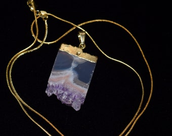 Druzy Amethyst Slice Pendant, gold electroplating, comes with a 14k gold plated chain