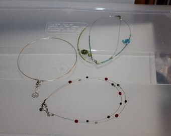 3 Necklaces, Hoop Necklaces, Wire w Accessories, Vintage,  Gift, 2 have 2 Necklaces, Very Subtle & Very Delicate, Nice For Teenagers Great