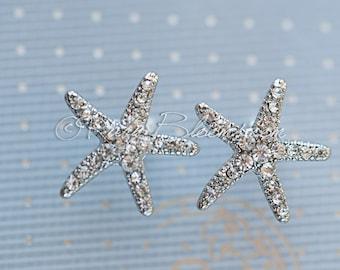 Crystal Starfish Earrings. Beach Wedding Jewelry Bridal Accessory, Crystal Star Fish Destination Wedding, Bridesmaid Gift, Ruby Blooms