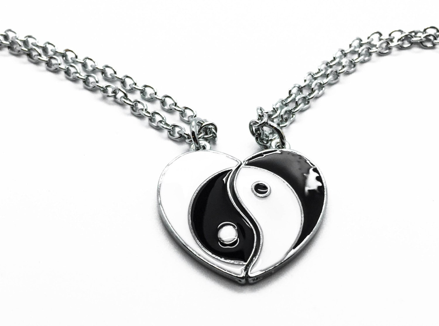 yin yang necklace bff necklace best friend necklace yin by