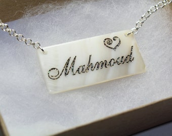 Personalized Name Necklace in Real Sea Shell/Name necklace/ Any Name Engraved/Custom Name Necklace