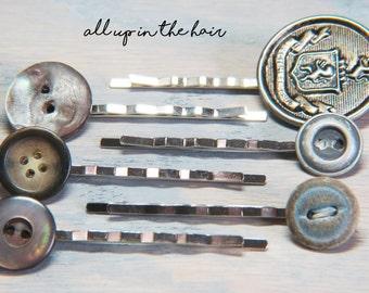 Metal Button Bobby Pins - Button Bobby Pins - Bobby Pin Set - Vintage Button Bobby Pins