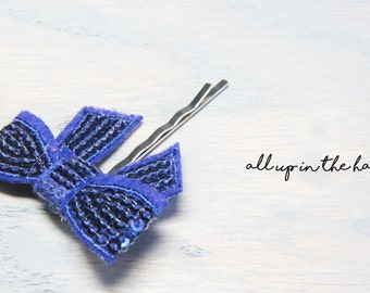 Purple Bow Bobby Pins - Purple Hair Bow