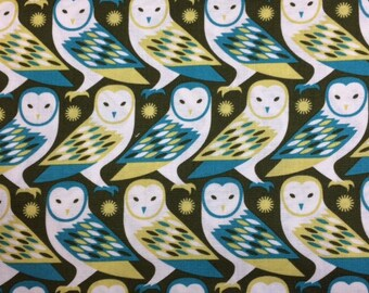 FreeSpirit Birch Farm - BARN OWL (Sage) 100% Cotton Premium Fabric-Per 1/2 yd