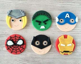12 Super Heroes Fondant Cupcake Toppers! (Spiderman, Batman, Ironman, Captain America, Thor, and Hulk)