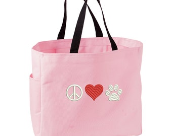 Peace Love Paw Tote Bag. Embroidered Peace Love Paw Tote. Cute Dog Pet Tote Bag. Dog Rescue Handbag. Dog Lover Gift. SM-B0750