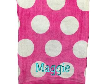 Monogrammed Beach Towel. Custom Beach Towel. Personalized Polka Dot Towel. Monogrammed Polka Dot Beach Towel. Bridesmaid Gift. SS - C3060P