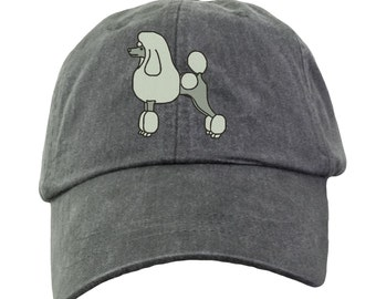 Poodle Hat - Embroidered. Poodle Cap. Poodle Gift. Cool Mesh Lining & Adjustable Leather Strap. 15 Colors Avail. HER-LP101